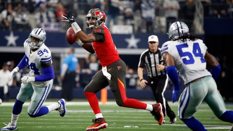 <p>               FILE - In this Dec. 23, 2018, file photo, Dallas Cowboys' Randy Gregory (94) and Jaylon Smith (54) pursue as Tampa Bay Buccaneers quarterback Jameis Winston (3) prepares to throw a pass during an NFL football game in Arlington, Texas. Both Cowboys were considered second-round gambles for vastly different reasons--Gregory because of a battle with substance abuse that eventually led to three suspensions, Smith because of a devastating left knee injury in his final college game. With the Cowboys headed to a divisional playoff at the Los Angeles Rams on a team with a defense-first mentality, Gregory and Smith are looking more like second-round payoffs all the time. (AP Photo/Michael Ainsworth, File)             </p>