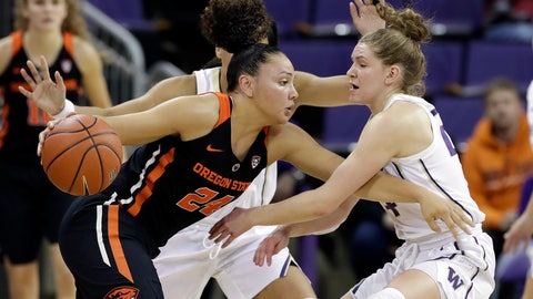 <p>               Oregon State's Destiny Slocum, left, tries to drive past Washington's Jenna Moser during the first half of an NCAA college basketball game Friday, Jan. 25, 2019, in Seattle. (AP Photo/Elaine Thompson)             </p>
