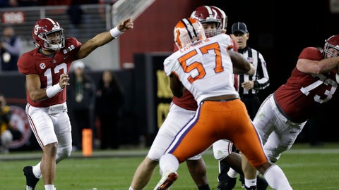<p>               Alabama's Tua Tagovailoa throws during the first half the NCAA college football playoff championship game against Clemson, Monday, Jan. 7, 2019, in Santa Clara, Calif. (AP Photo/David J. Phillip)             </p>