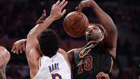 <p>               Los Angeles Lakers guard Josh Hart, left, and Cleveland Cavaliers center Tristan Thompson grapple for a rebound during the first half of an NBA basketball game Sunday, Jan. 13, 2019, in Los Angeles. (AP Photo/Mark J. Terrill)             </p>