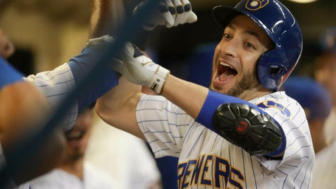 <p>               File-This Sept. 28, 2018, file photo shows Milwaukee Brewers' Ryan Braun being congratulated after hitting a home run during the first inning of a baseball game against the Detroit Tigers in Milwaukee. Now 35, Braun is years past his dominant, MVP self. Yet the aging slugger is trying to set himself up to be a part of the Milwaukee Brewers' promising future. (AP Photo/Morry Gash, File)             </p>