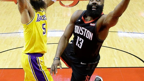 <p>               Houston Rockets guard James Harden (13) drives to the basket as Los Angeles Lakers center Tyson Chandler defends during the first half of an NBA basketball game, Saturday, Jan. 19, 2019, in Houston. (AP Photo/Eric Christian Smith)             </p>