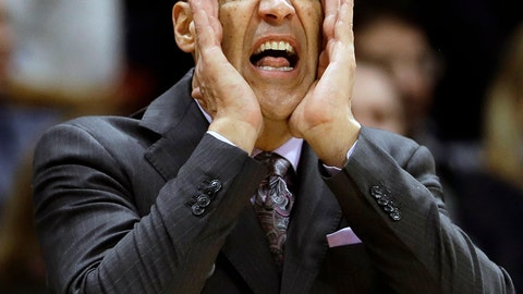 <p>               FILE - In this Jan. 2, 2019, file photo, Villanova head coach Jay Wright yells to his team during the first half of an NCAA college basketball game against DePaul, in Villanova, Pa. The Big East Conference has become somewhat of a demolition derby when it comes to men's basketball. Take a look at the standings after Wednesday night's game. No. 12 Marquette and No. 18 and defending national champion Villanova are the only teams with winning conference records. The other eight teams are below .500 and all have four losses. (AP Photo/Matt Slocum, File)             </p>