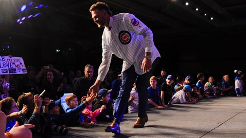 <p>               Chicago Cubs' Kris Bryant works the crowd during the team's annual convention Friday, Jan. 18, 2019, in Chicago. (AP Photo/Matt Marton)             </p>