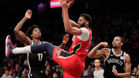 <p>               New Orleans Pelicans' Anthony Davis (23) rebounds the ball as Brooklyn Nets' Ed Davis (17) and Spencer Dinwiddie (8) watch during the first half of an NBA basketball game Wednesday, Jan. 2, 2019, in New York. (AP Photo/Frank Franklin II)             </p>