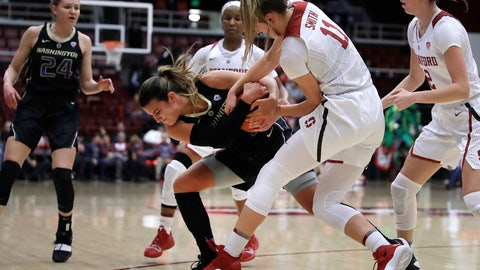 <p>               Stanford's Alanna Smith (11) fights for the ball with Washington's Amber Melgoza during the first half of an NCAA college basketball game Friday, Jan. 18, 2019, in Stanford, Calif. (AP Photo/Ben Margot)             </p>