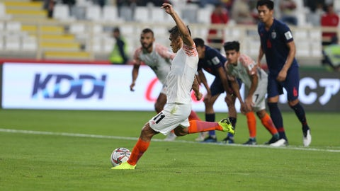 <p>               India's forward Sunil Chhetri kicks the penalty to score the opening goal during the AFC Asian Cup group A soccer match between Thailand and India at Al Nahyan Stadium in Abu Dhabi, United Arab Emirates, Sunday, Jan. 6, 2019. (AP Photo/Kamran Jebreili)             </p>