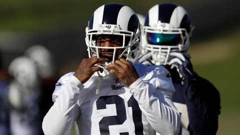 <p>               Los Angeles Rams' Aqib Talib (21) warms up during practice at the team's NFL football training facility Friday, Jan. 18, 2019, in Thousand Oaks, Calif. (AP Photo/Marcio Jose Sanchez)             </p>