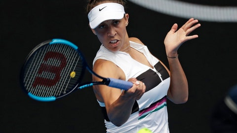 <p>               United States' Madison Keys hits a forehand return to Australia's Destanee Aiava during their first round match at the Australian Open tennis championships in Melbourne, Australia, Tuesday, Jan. 15, 2019. (AP Photo/Kin Cheung)             </p>