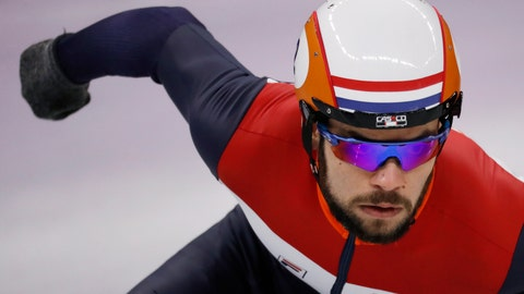 <p>               In this Feb. 13, 2018 file image Sjinkie Knegt of the Netherlands races during the men's 1000 meters short track speedskating heats in the Gangneung Ice Arena at the 2018 Winter Olympics in Gangneung, South Korea. The Dutch ice skating association said Olympic short track speedskating silver medalist Knegt has suffered serious burns after his clothes caught fire Thursday morning Jan. 10, 2019, as he was lighting a wood-burning stove. (AP Photo/Bernat Armangue)             </p>