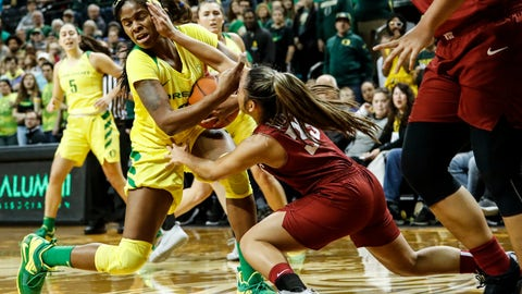 <p>               Oregon forward Ruthy Hebard (24) battles for the ball against Washington State guard Cherilyn Molina (33) during an NCAA college basketball game Sunday, Jan. 6, 2019, in Eugene, Ore. (AP Photo/Thomas Boyd)             </p>