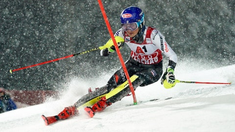 <p>               United States' Mikaela Shiffrin competes during an alpine ski, women's World Cup slalom in Flachau, Austria, Tuesday, Jan. 8, 2019. (AP Photo/Giovanni Auletta)             </p>