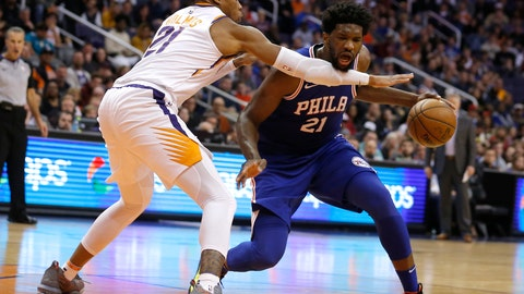<p>               Philadelphia 76ers center Joel Embiid (21) gets fouled by Phoenix Suns forward Richaun Holmes in the second half during an NBA basketball game, Wednesday, Jan. 2, 2019, in Phoenix. The 76ers defeated the Suns 132-127. (AP Photo/Rick Scuteri)             </p>