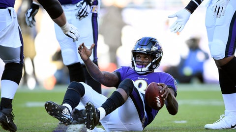 <p>               Teammates help Baltimore Ravens quarterback Lamar Jackson to his feet after a play in the second half of an NFL wild card playoff football game against the Los Angeles Chargers, Sunday, Jan. 6, 2019, in Baltimore. (AP Photo/Nick Wass)             </p>