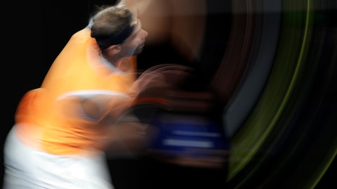 <p>               Spain's Rafael Nadal serves to United States' Frances Tiafoe during their quarterfinal match at the Australian Open tennis championships in Melbourne, Australia, Tuesday, Jan. 22, 2019. (AP Photo/Aaron Favila)             </p>