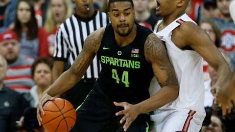 <p>               Michigan State forward Nick Ward, left, drives against Ohio State forward Kaleb Wesson during the second half of an NCAA college basketball game in Columbus, Ohio, Saturday, Jan. 5, 2019. Michigan State won 86-77. (AP Photo/Paul Vernon)             </p>