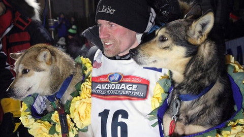 <p>               FILE - In this March 15, 2016, file photo, Dallas Seavey poses with his lead dogs Reef, left, and Tide after finishing the Iditarod Trail Sled Dog Race in Nome, Alaska. The four-time champion of the world's most famous sled dog race is skipping the Iditarod for the second straight year in favor of a race in Norway. Seavey on Friday, Jan. 25, 2019, said he plans to participate in the Finnmarkslopet this March. (AP Photo/Mark Thiessen, File)             </p>