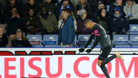 <p>               Everton's Richarlison celebrates scoring his side's first goal of the game against Huddersfield Town during their English Premier League soccer match at the John Smith's Stadium in Huddersfield, England, Tuesday Jan. 29, 2019. (Nigel French/PA via AP)             </p>
