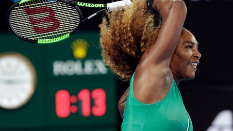 <p>               United States' Serena Williams hits forehand return to Canada's Eugenie Bouchard during their second round match at the Australian Open tennis championships in Melbourne, Australia, Thursday, Jan. 17, 2019. (AP Photo/Aaron Favila)             </p>