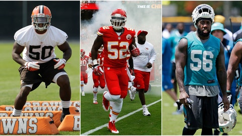 <p>               This combination of photos shows James-Michael Johnson, from left, as a Cleveland Browns player in 2012, as a Kansas City Chiefs player in 2013 and a Miami Dolphins player in 2016. Johnson played four years in the league on six teams and was cut seven times, a casualty of the NFL's unending penchant for going younger and cheaper. (AP Photos)             </p>