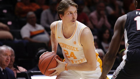 <p>               Tennessee guard Lucas Campbell (24) looks for an open man while Georgia defends in the second half of an NCAA college basketball game Saturday, Jan. 5, 2019, in Knoxville, Tenn. Tennessee won 96-50. (AP Photo/Shawn Millsaps)             </p>