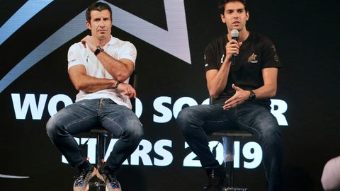 <p>               Brazilian soccer player Ricardo Kaka, right, speaks while siting next to Portugal soccer player Luis Figo, during a ceremony in Karachi, Pakistan, Thursday, Jan. 10, 2019. Soccer greats Figo and Kaka arrived in Pakistan to launch World Soccer Stars events in a country known for his passion about the game of cricket. (AP Photo/Fareed Khan)             </p>