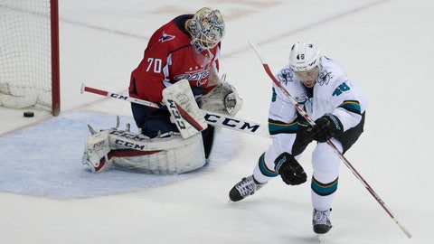 <p>               San Jose Sharks center Tomas Hertl (48), from the Czech Republic, celebrates his game-winning goal for a hat trick past Washington Capitals goaltender Braden Holtby (70) in the overtime portion of an NHL hockey game, Tuesday, Jan. 22, 2019, in Washington. The Sharks won 7-6. (AP Photo/Alex Brandon)             </p>