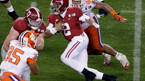 <p>               Alabama's Jalen Hurts scrambles during the second half of the NCAA college football playoff championship game against Clemson, Monday, Jan. 7, 2019, in Santa Clara, Calif. (AP Photo/Jeff Chiu)             </p>