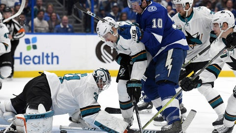 <p>               San Jose Sharks goaltender Martin Jones (31) looks to cover as center Logan Couture (39) and Tampa Bay Lightning center J.T. Miller (10) fight for the puck during the second period of an NHL hockey game Saturday, Jan. 19, 2019, in Tampa, Fla. (AP Photo/Jason Behnken)             </p>