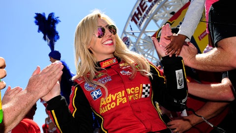 LAS VEGAS, NV - APRIL 08: Courtney Force (3 FC) John Force Racing (JFR) Chevrolet Camaro SS NHRA Funny Car high-fives fans during pre-race festivities for the NHRA Denso Spark Plugs Four Wide Nationals on April 8, 2018, at The Strip at Las Vegas Motor Speedway in Las Vegas, Nevada.(Photo by Michael Allio/Icon Sportswire via Getty Images)