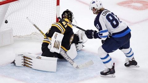 <p>               Winnipeg Jets left wing Kyle Connor (81) beats Boston Bruins goaltender Jaroslav Halak for the only goal during a shootout following an overtime period of an NHL hockey game in Boston, Tuesday, Jan. 29, 2019. Connor also scored two goals in the third period, as the Jets defeated the Bruins 4-3. (AP Photo/Charles Krupa)             </p>