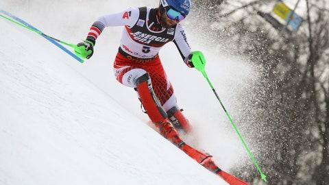 <p>               Austria's Marco Schwarz competes during an alpine ski, men's World Cup slalom in Zagreb, Croatia, Sunday, Jan. 6, 2019. (AP Photo/Marco Trovati)             </p>
