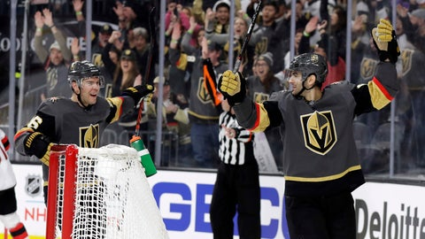 <p>               Vegas Golden Knights left wing Max Pacioretty, right, and center Paul Stastny celebrate after Pacioretty's goal against the New Jersey Devils during the second period of an NHL hockey game Sunday, Jan. 6, 2019, in Las Vegas. (AP Photo/Isaac Brekken)             </p>