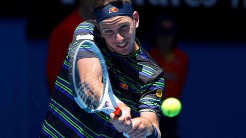 <p>               Britain's Cameron Norrie plays a shot during his match against Frances Tiafoe of the United States at the Hopman Cup in Perth, Australia, Thursday Jan. 3, 2019. (AP Photo/Trevor Collens)             </p>