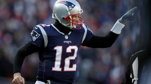 <p>               New England Patriots quarterback Tom Brady celebrates one of his team's five first-half touchdowns against the Los Angeles Chargers during the first half of an NFL divisional playoff football game, Sunday, Jan. 13, 2019, in Foxborough, Mass. (AP Photo/Charles Krupa)             </p>