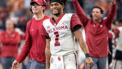 <p>               FILE - In this Dec. 1, 2018, file photo, Oklahoma quarterback Kyler Murray (1) celebrates on the sidelines after throwing a touchdown against Oklahoma during the second half of the Big 12 Conference championship NCAA college football game, in Arlington, Texas. A record number of college football players are bypassing remaining years of eligibility to enter the NFL draft, including Heisman Trophy winner Kyler Murray.  (AP Photo/Jeffrey McWhorter, File)             </p>
