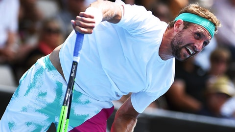<p>               Tennys Sandgren of the U.S. plays a shot to Philipp Kohlschreiber of Germany during the semifinal match of the ASB Classic Mens tennis tournament in Auckland, New Zealand, Friday, Jan 11, 2019. (AP Photo/Chris Symes)             </p>