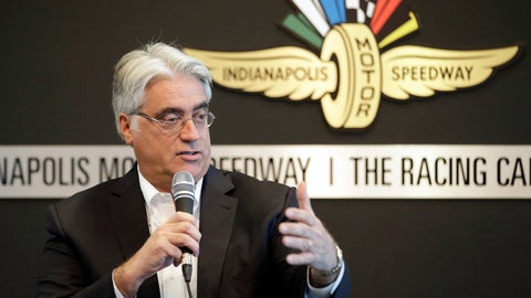 <p>               FILE - In this Tuesday, Feb. 2, 2016 file photo, Mark Miles, the CEO of IndyCar's parent company, Hulman & Co., speaks during IndyCar media day at the Indianapolis Motor Speedway in Indianapolis. IndyCar Series officials hope to make an announcement about its new title sponsor before a February test in Austin, Texas, and long before NBC begins its expanded coverage of the series this season. Mark Miles, president and CEO of IndyCar parent Hulman & Co., said he would like to see the new sponsor's name on the cars and fire suits for the test. NBC also announced Wednesday, Jan. 9, 2019 it will carry eight races on network television this season. (AP Photo/Darron Cummings, File)             </p>