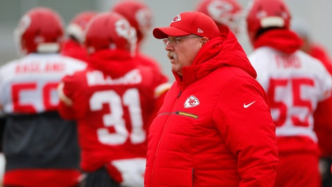 <p>               Kansas City Chiefs head coach Andy Reid watches workouts Thursday, Jan. 17, 2019, in Kansas City, Mo. The Chiefs host the New England Patriots in the NFL 's AFC football championship game on Sunday. (AP Photo/Charlie Riedel)             </p>