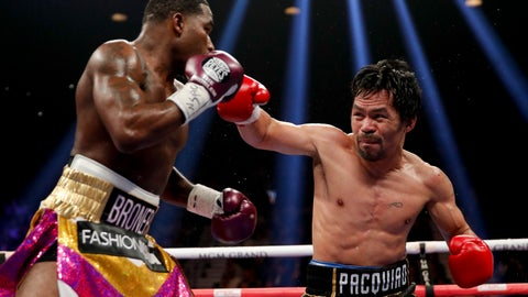 <p>               Manny Pacquiao, right, throws a right to Adrien Broner in the WBA welterweight title boxing match Saturday, Jan. 19, 2019, in Las Vegas. (AP Photo/John Locher)             </p>