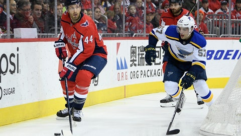 <p>               Washington Capitals defenseman Brooks Orpik (44) skates with the puck against St. Louis Blues left wing David Perron (57) during the first period of an NHL hockey game, Monday, Jan. 14, 2019, in Washington. Orpik played in his 1,000th NHL game tonight. The Blues won 4-1. (AP Photo/Nick Wass)             </p>