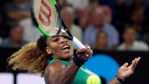 <p>               United States' Serena Williams hits a forehand return to Canada's Eugenie Bouchard during their second round match at the Australian Open tennis championships in Melbourne, Australia, Thursday, Jan. 17, 2019. (AP Photo/Aaron Favila)             </p>