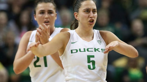 <p>               Oregon's Erin Boley, left, and Maite Cazorla celebrate as they move ahead of Washington in the third quarter an NCAA college basketball game Friday, Jan. 4, 2019, in Eugene, Ore. (AP photo/Chris Pietsch)             </p>