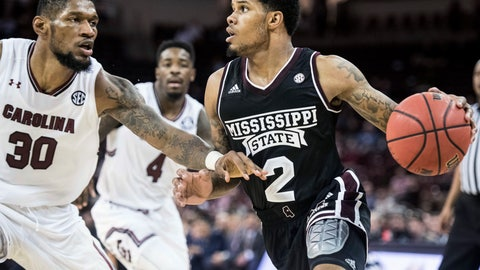 <p>               Mississippi State guard Lamar Peters (2) is defended by South Carolina forward Chris Silva (30) during the second half of an NCAA college basketball game Tuesday, Jan. 8, 2019, in Columbia, S.C. South Carolina won 87-82. (AP Photo/Sean Rayford)             </p>