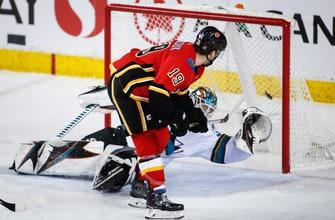 Gaudreau, Tkachuk, Monahan lead Flames past Sharks 8-5