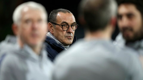 <p>               Chelsea manager Maurizio Sarri before the match against Bournemouth, during their English Premier League soccer match at the Vitality Stadium in Bournemouth, Wednesday Jan. 30, 2019. (Andrew Matthews/PA via AP)             </p>