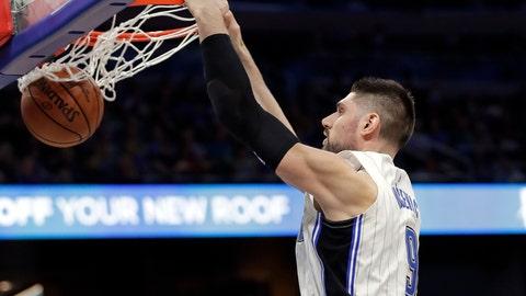 <p>               Orlando Magic's Nikola Vucevic makes an uncontested dunk against the Boston Celtics during the first half of an NBA basketball game, Saturday, Jan. 12, 2019, in Orlando, Fla. (AP Photo/John Raoux)             </p>