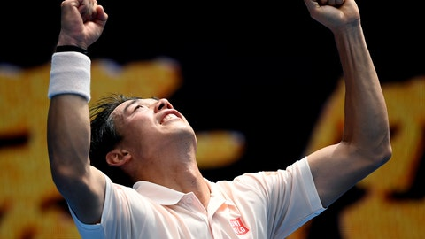 <p>               Japan's Kei Nishikori celebrates after defeating Croatia's Ivo Karlovic during their second round match at the Australian Open tennis championships in Melbourne, Australia, Thursday, Jan. 17, 2019. (AP Photo/Andy Brownbill)             </p>