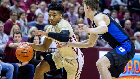<p>               FILE- This Jan. 12, 2019, file photo shows Florida State guard David Nichols trying  to get past Duke guard Alex O'Connell in the second half of an NCAA college basketball game in Tallahassee, Fla. The 22-year-old Nichols, who was born in Chicago, became just the second graduate transfer at Florida State and has carved a niche in the lineup of the Seminoles, who were ranked No. 11 before falling out of the poll this week after three straight losses. (AP Photo/Mark Wallheiser, File)             </p>