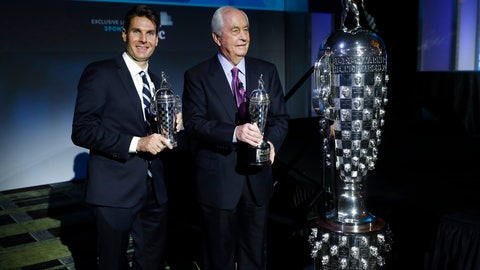 "<p>               Will Power, left, winner of the 2018 Indianapolis 500, holds his ""Baby Borg"" driver's trophy as he stands with Roger Penske, who holds his team owner's trophy, in Detroit, Wednesday, Jan. 16, 2019. At right is the Borg-Warner Trophy. (AP Photo/Paul Sancya)             </p>"